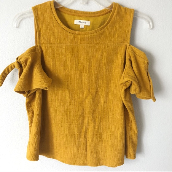 72b67e19856d3 Madewell Tops - Madewell Skylark cold shoulder tie Amber honey top